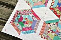 Scrappy Spiderweb baby girl quilt by babyburritoquilts on Etsy, $135.00