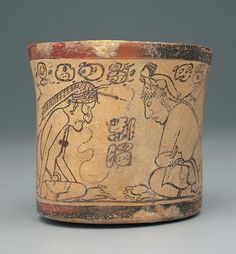 Codex-Style Vessel with Two Scenes of Pawahtun Instructing Scribes.Possibly Mexico or Guatemala, Maya culture.Late Classic period (A.D. 600–900). c. A.D. 550–950.This celebrated vessel depicts two scenes with the deity Pawahtun, a principal god of Maya scribes, in animated lessons with young disciples.