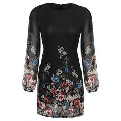 Floral Print Round Neck Chiffon Short Dress