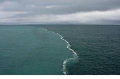 En la ciudad de Skagen, Dinamarca puedes ver esta imagen. Son los mares Báltico y del Norte en su unión. Las dos mareas no se llegan a fundir porque su agua tiene diferentes densidades.