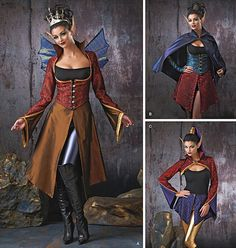 Explore your creative style – sew your own Cosplay fantasy with Simplicity pattern 1138. Misses' dark faeries costumes include vest, jacket, cape, bolero, overskirt in three lengths, wings and gauntlets.