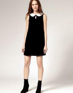#Sheinside Black Stitching White Collar Sleeveless Dress - Sheinside.com