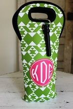 Green tribal pattern is shown here with a hot pink solid circle monogram in circle monogram font.
