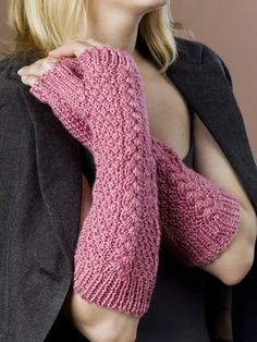 Fingerless Cable Gloves Knitting Pattern from Caron Yarn | FaveCrafts.com
