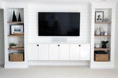 DIY Built-ins & Faux Shiplap - Benjamin Moore Simply White (soft and subtly creamy white).