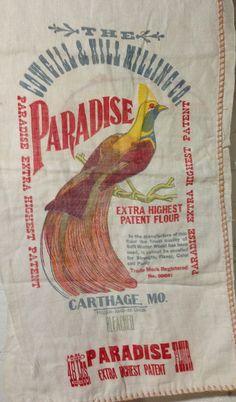 Vintage Paradise Flour Sack Bag Bird Parrot Sugar Grain Feed,