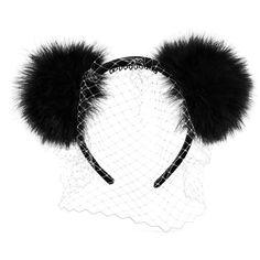 Piers Atkinson 'Panda' pompom veil velvet headband ($565) ❤ liked on Polyvore featuring accessories, hair accessories, black, headband hair accessories, black hair combs, hair band headband, piers atkinson and head wrap headband