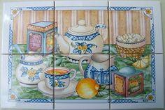 Ceramic-6-Tile-Mural-Tea-Stain-Tea-cups-Teapots-Misc