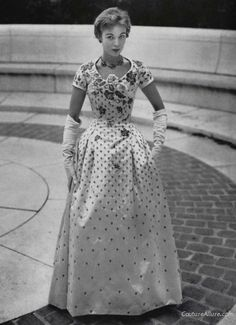 1954 - Christian Dior beaded evening gown