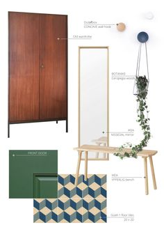 Planning an entrance space makeover Green Colors, Colours, Put On Your Shoes, Green Front Doors, Small Stool, Clean Plates, Floating Frame, Hanging Plants, All White