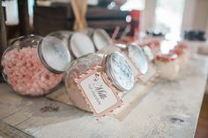 Create a cute hot chocolate bar with different flavors of hot chocolate and marshmallows!