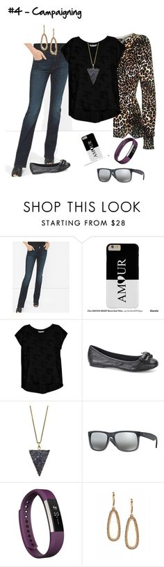 """""""#4 - Campaigning"""" by musingly ❤ liked on Polyvore featuring White House Black Market, Bobeau, Ray-Ban, Fitbit and Lonna & Lilly"""