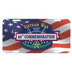 The design on this Vietnam War 50th Commemoration Metal Decorative License Plate was created as part of the commemorative effort to educate the public on the lesser-known aspects of the war, to thank and honor Vietnam veterans from all of the Armed Forces, and to recognize the sacrifices made by the U.S. and her allies throughout the war. Show your support for our Vietnam Veterans on your car or truck with this durable Vietnam War 50th Commemoration Metal Decorative License Plate.