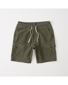 A&F Men's Pull-On Cargo Shorts in Olive Green - Size XS