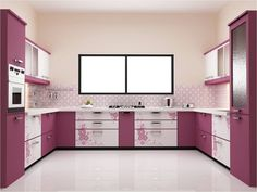kitchen, Cute Kitchen Design Ideas With Cute Modular Kitchen Sink In Purple Coloring Purple Kitchen Units Purple Kitchen Cabinet Design Purple Kitchen Island Purple White Kitchen Design Ideas White Ceramic Floor Design: Stylish Modular Kitchen Sink Design