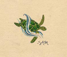 sea turtle tattoo | Just came across this little sea turtle tattoo design I drew up awhile ...
