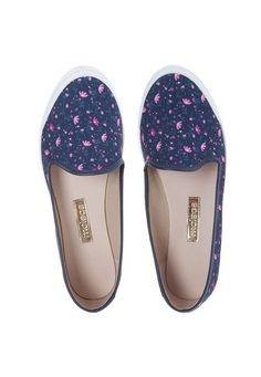 483add303 Slip On Moleca Floral Azul - Marca Moleca Sapatilhas Femininas, Moleca,  Guarda Roupas,