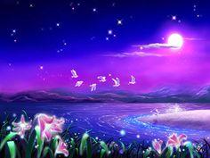 Kagaya Yutaka • Fondo de Pantalla • Luna, flores, aves