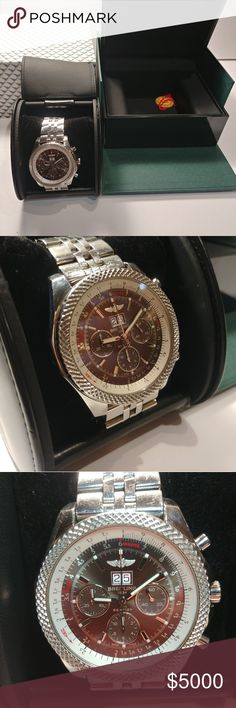 Breitling for Bentley Breitling, Leather Case, Rolex Watches, Larger, Looks Great, Boston, Black Leather, Shape, Best Deals