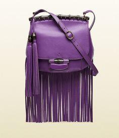 Gucci Nouveau Purple Leather Fringed Shoulder Bag ($2,500)