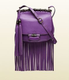 Gucci Nouveau Purple Leather Fringed Shoulder Bag ($2,500)