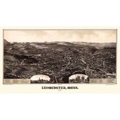 Vintage Map of Leominster Massachusetts 1886 Worcester County Canvas Art - (18 x 24)