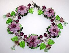 Glass Lampwork Bracelet  Amethyst Rose B1343 By by ccjewelrydesign, $99.00