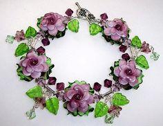Glass Lampwork Bracelet  Amethyst Rose B1343 By by ccjewelrydesign, $99.00