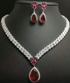 A beautiful diamond and Ruby necklace and matching earrings. A beautiful diamond and Ruby necklace and matching earrings. Ruby Necklace, Ruby Jewelry, Turquoise Jewelry, Bridal Jewelry, Jewelry Sets, Jewelery, Fine Jewelry, Jewelry Necklaces, Gold Bracelets