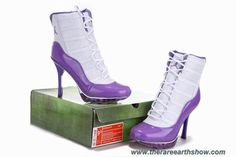 Discounts Women White Purple Air Cushion Jordan High Heels