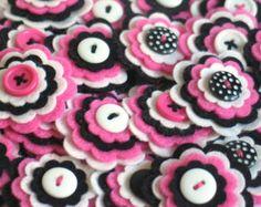 SOPHIE Felt Flower Embellishments Handmade by thejellybeanstudio