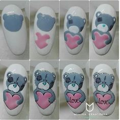 What manicure for what kind of nails? - My Nails Animal Nail Designs, Animal Nail Art, Nail Art Designs, Nail Drawing, Valentine Nail Art, Bear Valentines, Nail Art Techniques, Disney Nails, Christmas Nail Art