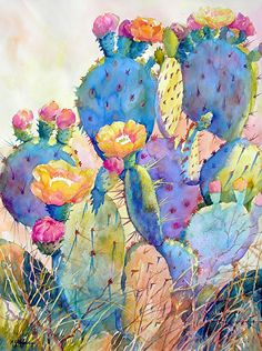 CACTUS DELIGHT by Mary Shepard Watercolor ~ image size: 29 x 21 unframed