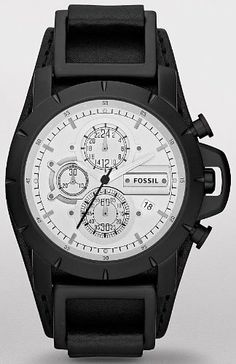 Fossil Chronograph Leather 50M Mens Wath - JR1347 Fossil. $114.50. Black Leather. Chronograph. White Dial