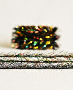 Tinsel Twine in Black Rainbow  6 Yards  by thatchandthistleco, $4.00