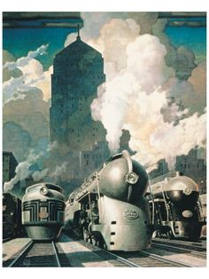 New York Central ~ Fine-Art Print - Vintage United States Travel Art Prints and Posters - Vintage Travel Pictures Poster Art, Art Deco Posters, Print Poster, Art Deco Print, Art Deco Design, New York Central Railroad, Systems Art, Train Posters, Train Art