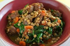Sausage and Lentil Stew Slow Cooker Recipe - as written, Gluten Free & easily made Casein free as well by choosing #GFCF sausage! #GF