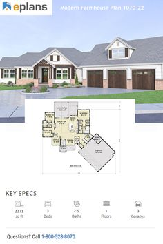 Check out this farmhouse style home. It gives you country curb appeal with Craftsman details and a cozy living room. Call 1-800-528-8070 today. #architect #architecture #buildingdesign #homedesign #residence #homesweethome #dreamhome #newhome #newhouse #foreverhome #interiors #archdaily #modern #farmhouse #house #lifestyle #design