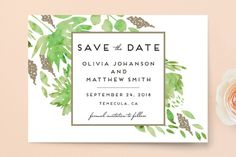 """""""Watercolor Delight"""" - Floral & Botanical Save The Date Petite Cards in Aqua by Petra Kern."""