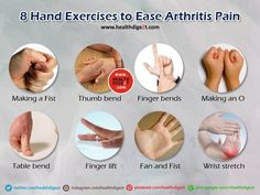 8 Hand Exercises to Relieve Arthritis Pain: Here is a very helpful chart of hand exercises. These movements can also be of assistance with wrist soreness and carpal tunnel syndrome. For more great health tips and the latest news on proven natural remedies visit http://www.NutritionBreakthroughs.com