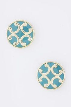 Cinnaryn Joy Filigree Earrings in Turquoise