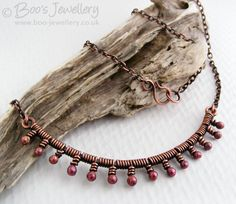 Antiqued copper necklace wire wrapped with rosy by BooJewels, £42.00