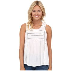O'Neill Tokeen Tank Top Women's Sleeveless ($40) ❤ liked on Polyvore featuring tops, white sleeveless tank top, o neill tank, embroidered top, relaxed fit tops and scoop neck top