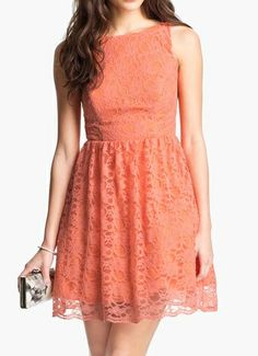 Beautiful light orange bridesmaid lace dress from Avec Amber, March 2013