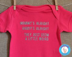 "This Cheap Trick-inspired shirt is perfect for your little rockstar. It features lyrics from Cheap Tricks Surrender and reads Mommys alright, Daddys alright, they just seem a little weird.  All of our products are made to order on a professional heat press. If you'd like a different color combination (see image showing our options), include that info in the ""notes to seller"" section when you are making your purchase, otherwise shirt will be created as pictured.  Due to monitor/display…"