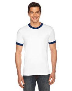 American Apparel Unisex Poly-Cotton Short-Sleeve Ringer T-Shirt BB410 WHITE/NAVY