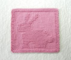 Bunny Baby Wash Cloth BUNNY RABBIT Knit Dishcloth,  Hand Knitted Unique Design - 100% Cotton Pink Rose Baby Shower Gift, Child's Wash Cloth