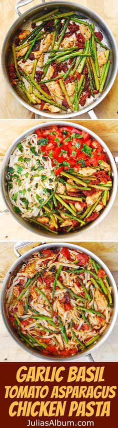 Tomato Asparagus Chicken Fettuccine Pasta – healthy dinner. Spring and Summer Dinner Recipe.  Mediterranean food ideas.