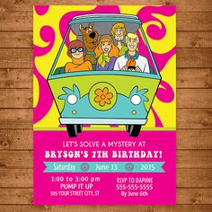 Scooby Doo Invitation Pink & Yellow  Scooby by NineLivesNotEnough