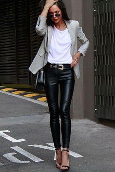 New Fashion Outfits Inspiration Leather Leggings Ideas Fashion Mode, Look Fashion, Autumn Fashion, Street Fashion, Womens Fashion, Fashion Styles, Classic Fashion Outfits, Airport Fashion, Petite Fashion